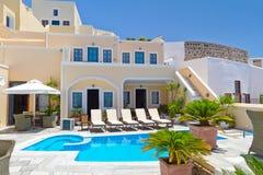 Architectuur van stad Fira op eiland Santorini Stock Foto's