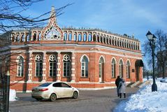 Architectuur van Tsaritsyno-park in Moskou Kleurenfoto Royalty-vrije Stock Foto's