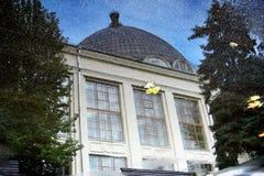 Architectuur van VDNKH-park in Moskou Ruimtepaviljoen Royalty-vrije Stock Foto