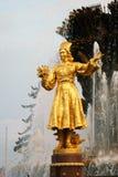 Architectuur van VDNKh-stadspark in Moskou De Vriendschap van de fontein van Volkeren Royalty-vrije Stock Foto