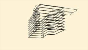 Architectuur wireframe met een 3D model van de bouw animatie Roterende volumecontour van een huis op beige achtergrond stock illustratie