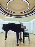 Architectuur, witte kleuren brede zaal met grote piano, binnenland, stock fotografie