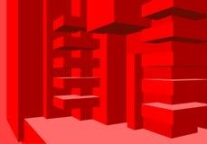 Architectuurachtergrond met abstracte kubussensamenstelling en schone minimalistic stijl royalty-vrije illustratie