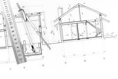 Architectuurblauwdruk en hulpmiddelen Royalty-vrije Stock Afbeelding