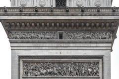 Architectuurdetails van Arc de Triomphe Parijs stock afbeelding