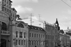 Architectuurdetails van gebouwen van Moskou Stock Foto's
