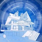 Architectuurontwerp: blauwdruk 3d huis Stock Foto
