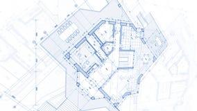 Architectuurontwerp: blauwdrukplan - illustratie van een plan stock fotografie