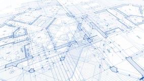 Architectuurontwerp: blauwdrukplan - illustratie van een plan stock foto's