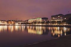 Architecutre από Binnenalster στο Αμβούργο Στοκ Εικόνες