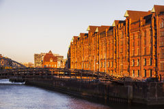 Architecutre του Αμβούργο στο ηλιοβασίλεμα Στοκ Εικόνες