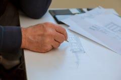 Architekci pracuje na projekcie, nieruchomość projekt Architekta miejsca pracy architektoniczny projekt, projekty, Fotografia Royalty Free