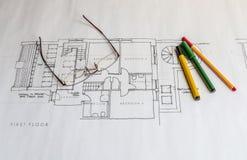 Architektów plany Obrazy Royalty Free
