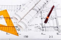 Architektów plany i rolki Zdjęcie Stock
