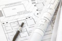 Architektów plany i rolki Obrazy Stock
