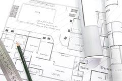 Architektów plany i rolki Zdjęcie Royalty Free