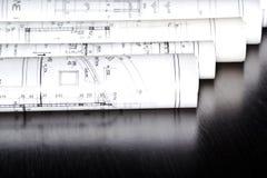 Architektów plany rolki i Zdjęcie Royalty Free