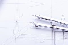 Architektów projektów wyposażenie protestuje miejsce pracy Fotografia Stock