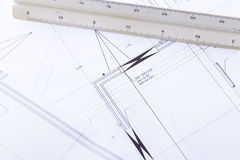 Architektów projektów wyposażenie protestuje miejsce pracy Zdjęcie Stock