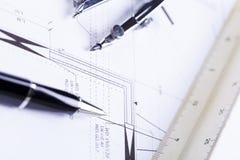 Architektów projektów wyposażenie protestuje miejsce pracy Obrazy Stock