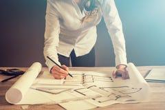 Architekt architektury rysunku projekta projekta działania projekt Obraz Stock