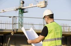 Architekt auf Baustelle. Lizenzfreie Stockfotos