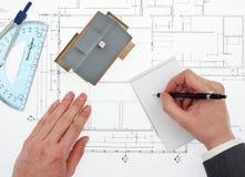 Architekt bierze notatkom odgórnego widok Fotografia Stock