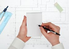Architekt bierze notatkom odgórnego widok Obrazy Stock