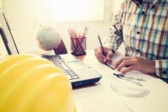 Architekt budowy rysunkowy plan Obrazy Stock