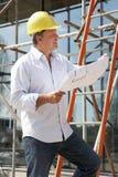 Architekt, der draußen Pläne studiert Lizenzfreie Stockbilder