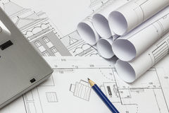Architekt Drawings Stockfoto