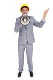 Architekt krzyczy z megafonem z ciężkim kapeluszem Zdjęcie Royalty Free