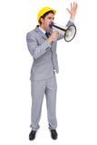 Architekt krzyczy z megafonem z ciężkim kapeluszem Obrazy Stock