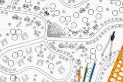 Architekt Landscape Designs Blueprints lizenzfreie stockbilder