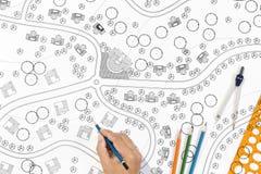 Architekt Landscape Designs Blueprints stockfotos