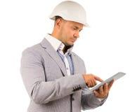 Architekt lub inżynier używa pastylkę zdjęcia stock