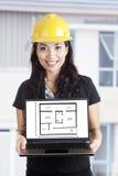 Architekt mit Auslegung des neuen Hauses lizenzfreie stockfotos