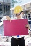 Architekt mit leerer Fahne Lizenzfreies Stockbild