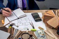 architekt rozwija planu dom Obrazy Stock