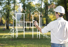 Architekt rysuje boisko dla dzieci Obraz Stock