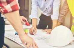 Architekt und Geschäftsmannplanungssitzung, zum mit commitme zu arbeiten stockfotografie