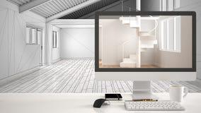 Architekta domu projekta pojęcie, komputer stacjonarny na białym pracy biurku pokazuje minimalistic nieumeblowaną pustą przestrze royalty ilustracja