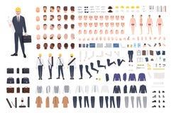 Architekta lub inżyniera konstruktor lub DIY zestaw Kolekcja męskie postać z kreskówki części ciała, wyrazy twarzy ilustracji