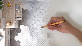 Architekta projektant wnętrz pojęcie: ręka rysuje projekta wewnętrznego projekt biały scandinavian kitch, podczas gdy przestrzeń  obrazy stock