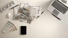 Architekta projektanta pojęcie, biały pracy biurko z komputerem, papierowy szkic, sypialnia projekta wizerunki i projekt, Próbka  ilustracja wektor