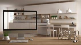 Architekta projektanta projekta pojęcie, drewniany stół z domów kluczami, 3D listy robi słowom kuchennemu projektowi i desktop po Fotografia Stock