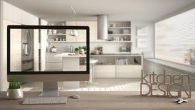 Architekta projektanta projekta pojęcie, drewniany stół z domów kluczami, 3D listy robi słowom kuchennemu projektowi i desktop po Zdjęcia Royalty Free