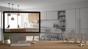 Architekta projektanta projekta pojęcie, drewniany stół z domu kluczy, 3D listów i desktop seansu szkic kuchennym projektem, proj ilustracji