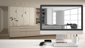 Architekta projektanta projekta poj?cie, bia?y biurko st?? z komputerowym desktop pokazuje niedoko?czonego nakre?lenie szkic, now royalty ilustracja