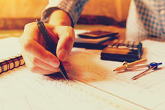 Architekta rysunek na projekta działania i projekta projekcie Obraz Royalty Free
